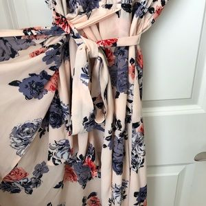Candie's Dresses - Beautiful Floral Print Romper with Maxi Overlay